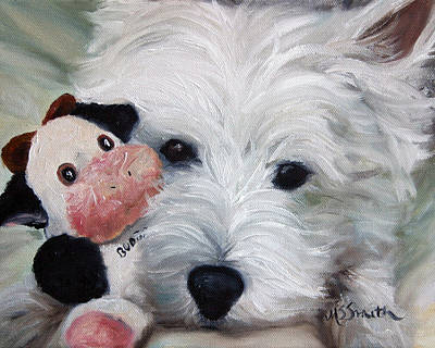 Puppies Painting - Snuggling Up To Budda by Mary Sparrow