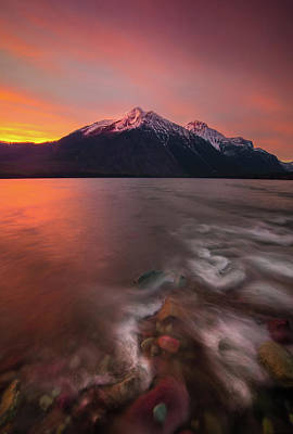 Photograph - Snyder Creek Sunset // Lake Mcdonald, Glacier National Park  by Nicholas Parker