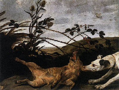 Snyders Frans Greyhound Catching A Young Wild Boar Art Print