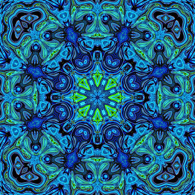 Kaleidoscope Digital Art - So Blue - 04v2 - Mandala by Aimelle