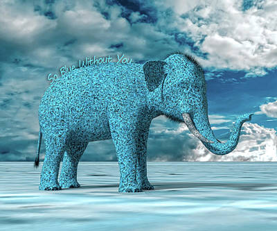 Cartoon Characters Digital Art - So Blue Without You by Betsy Knapp