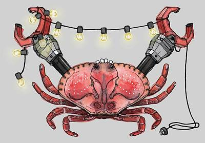 Pig Mixed Media - So Crabby Chic by Kelly Jade King