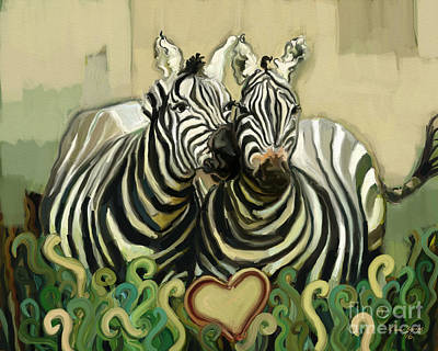Whimsical Wildlife Drawing - So In Love by Carrie Joy Byrnes