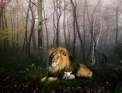 Lion Digital Art - So The Lion Fell In Love With The Lamb by Julie L Hoddinott
