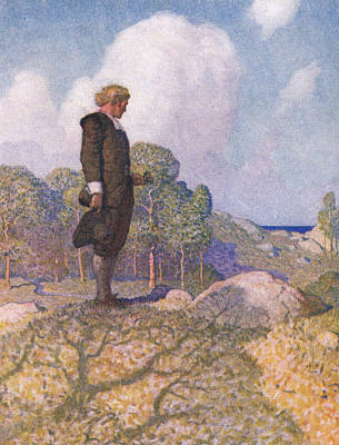 So Through The Plymouth Woods John Alden Went  Art Print by Newell Convers Wyeth