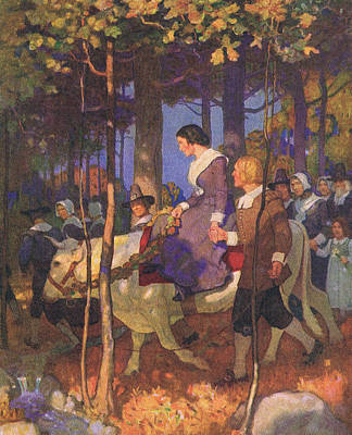 So Through The Plymouth Woods Passed Onward The Bridal Procession Art Print by Newell Convers Wyeth