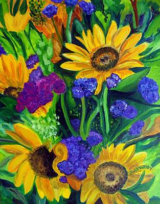 Painting - Sunflowers -soaking Up Sunshine by Julie Brugh Riffey