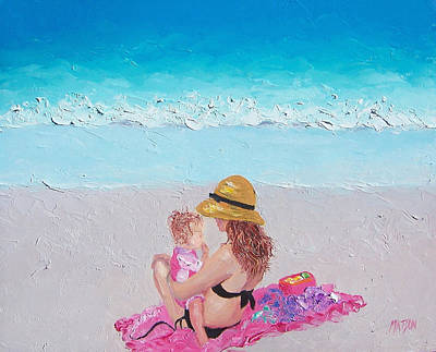 Woman And Baby Painting - Soaking Up The Sun by Jan Matson