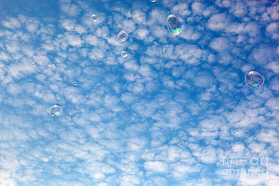 Blow Photograph - Soap Bubbles Flying In The Air by Michal Bednarek
