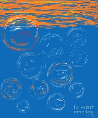 Wall Art - Digital Art - Soap Bubbles In The Sky by Cybele Chaves