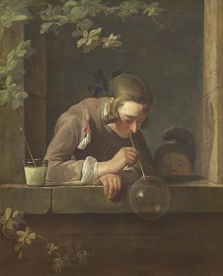 Simeon Painting - Soap Bubbles by Jean Simeon Chardin