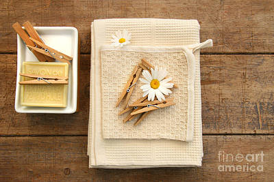Soap Clothespins And Towels  Art Print by Sandra Cunningham