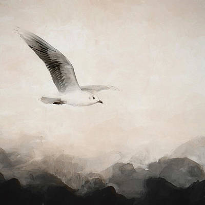 Moody Painting - Soar by Amanda Lakey