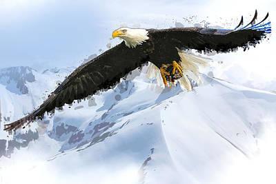 American Eagle Painting - Soaring Eagle Over Alaska Landscape by Elaine Plesser