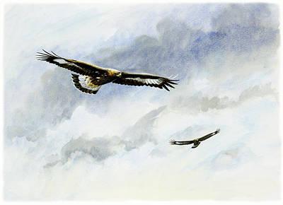 Golden Eagle Painting - Soaring Golden Eagles by Dag Peterson