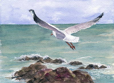 Painting - Soaring Gull by Suzanne Krueger