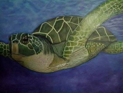 Green Sea Turtle Drawing - Soaring On The Deep Blue Sea by Lori Lee
