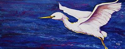 Mixed Media Royalty Free Images - Soaring Over Egret Bay Royalty-Free Image by Debi Starr