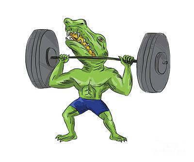 Muscular Digital Art - Sobek Weightlifter Lifting Barbell Caricature by Aloysius Patrimonio