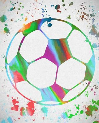 Sports Paintings - Soccer Ball Paint Splatter by Dan Sproul
