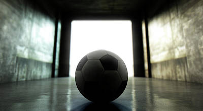 Soccer Digital Art - Soccer Ball Sports Stadium Tunnel by Allan Swart