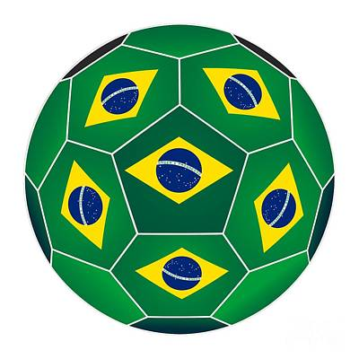 Digital Art - Soccer Ball With Brazilian Flag by Michal Boubin