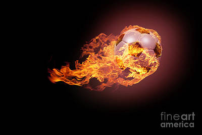 Athletic Digital Art - Soccer Ball With Fire by Andreas Berheide