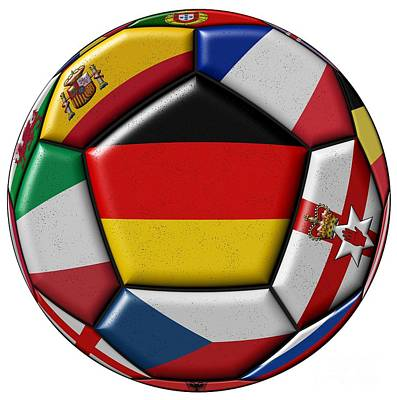 Soccer Ball With Flag Of German In The Center Art Print by Michal Boubin