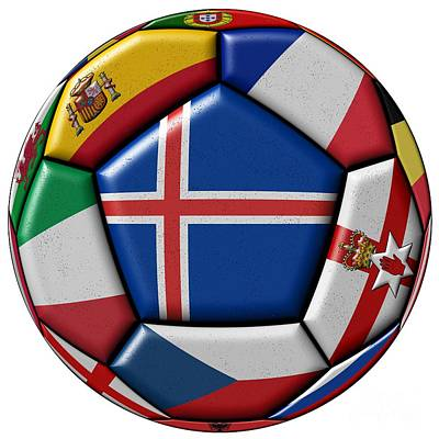 Soccer Ball With Flag Of Iceland In The Center Art Print by Michal Boubin