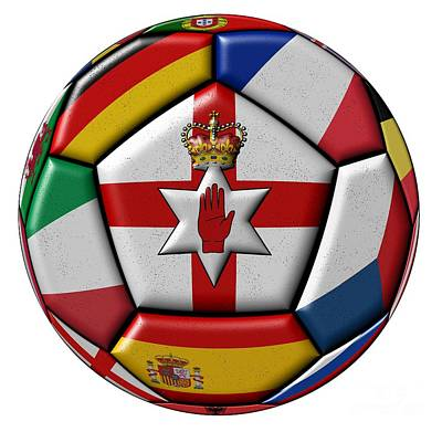 Soccer Ball With Flag Of Northern Ireland In The Center Art Print by Michal Boubin