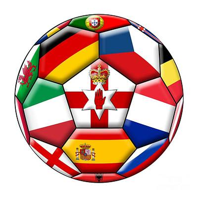 Soccer Ball With Flags - Flag Of  Northern Ireland In The Center Art Print by Michal Boubin