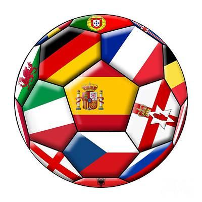Soccer Ball With Flags - Flag Of Spain In The Center Art Print by Michal Boubin