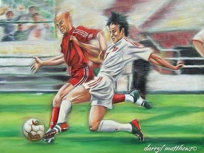 Painting - Soccer Battle by Darryl Matthews