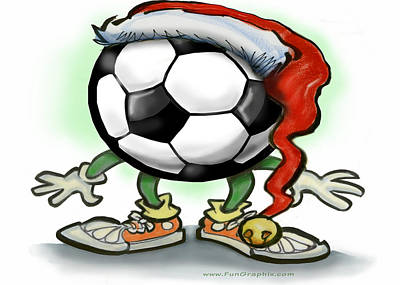 Soccer Greeting Card - Soccer Christmas by Kevin Middleton