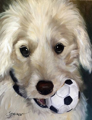 Sports Paintings - Soccer Player by Mary Sparrow