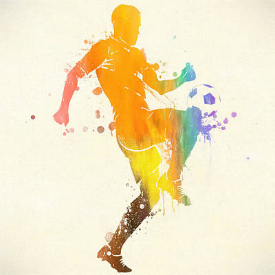 Sports Paintings - Soccer Player Paint Splatter by Dan Sproul