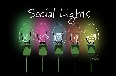 Digital Art - Social Lights by Mike Martinet