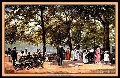 Hyde Park Mixed Media - Social Scene In The Park, Hyde Park N Y, 1905 by Dwight Goss