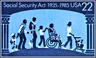 Crutch Painting - Social Security Act by Lanjee Chee
