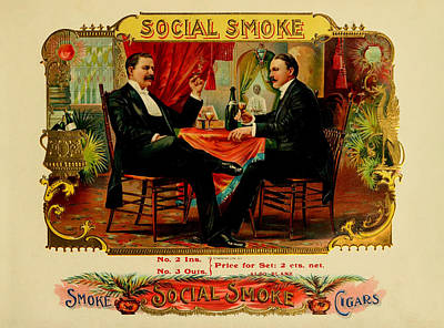 Digital Art - Social Smoke Vintage Cigar Label by Serge Averbukh
