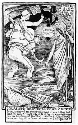 Walter Crane Drawing - Socialism And The Imperialistic Will O The Wisp by Walter Crane