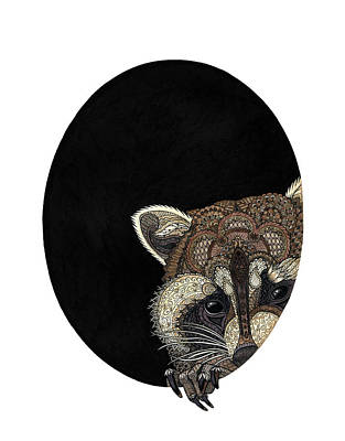 Drawing - Socially Anxious Raccoon by ZH Field