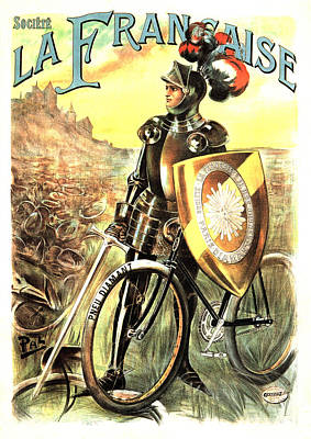 Mixed Media - Societe La Francaise - Bicycle - Vintage French Advertising Poster by Studio Grafiikka
