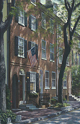 Philadelphia Pa Painting - Society Hill Row Home 2 by Ed Ryder