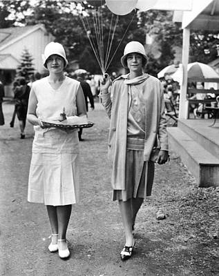 Balloons Photograph - Society Women At Devon Charity by Underwood Archives