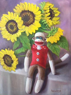 Painting - Sock Monkey And Sunflowers by Randy Burns