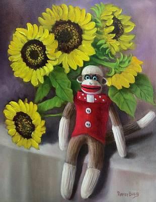 Sock Monkey And Sunflowers Original