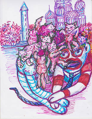 Washington Monument Drawing - Sock Monkey Pussy Estate, Mistake # 3 by Susan Brown    Slizys art signature name