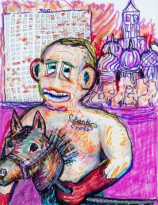 Law Courts Painting - Sock Monkey Putin With His Horse by Susan Brown    Slizys art signature name