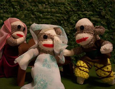 Sock Monkey Twelfth Night Art Print by David Jones